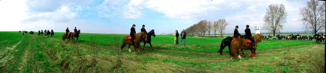 Widok z terenu gminy Piotrowice Wielkie, jeźdźcy na koniach